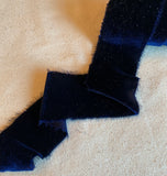 Navy Blue Silk Velvet Ribbon ( 4 Widths to choose from)