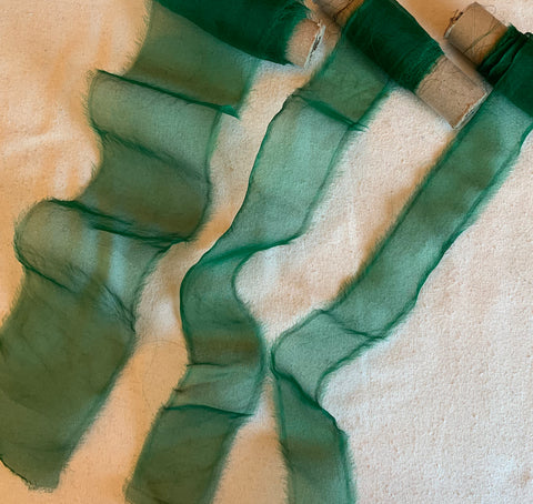 Emerald Green Hand Dyed 100% Silk Sheer Organza Ribbon ( 4 Widths to choose from)
