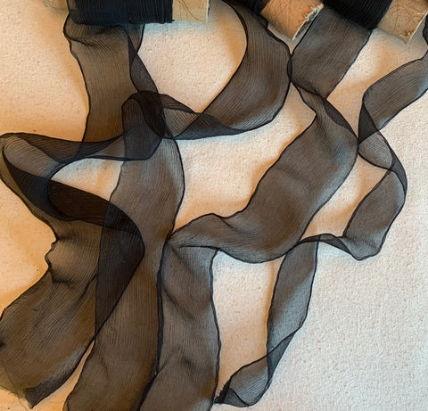 Black 100% Silk Sheer Crinkle Chiffon Ribbon ( 4 Widths to choose from)