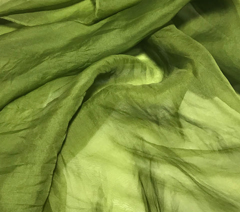 Avocado Green - Hand Dyed Silk Organza