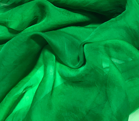 Bright Kelly Green - Hand Dyed Silk Organza