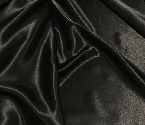Black - Faux Silk Charmeuse Satin Fabric