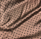 Mahogany Brown & Black Polka Dots - Hand Dyed Silk Charmeuse Fabric