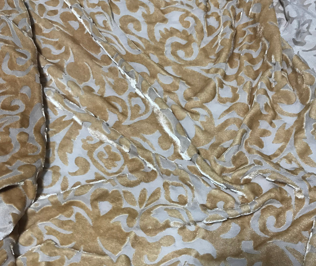 Golden Brown Scroll - Hand Dyed Burnout Silk Velvet