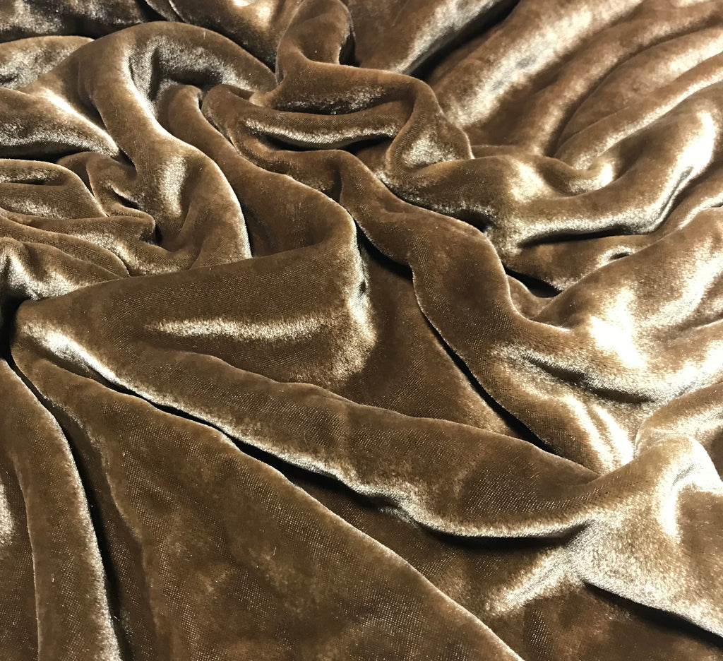 Pecan Brown - Hand Dyed Silk Velvet