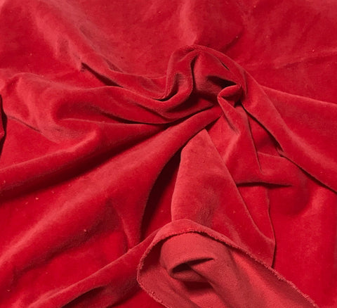 Scarlet Red  - Hand Dyed Cotton Velveteen