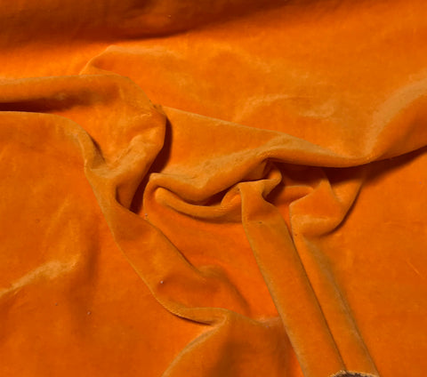 Tangerine Orange  - Hand Dyed Cotton Velveteen