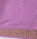Lilac with Gold Embroidered Border - Silk Crepe