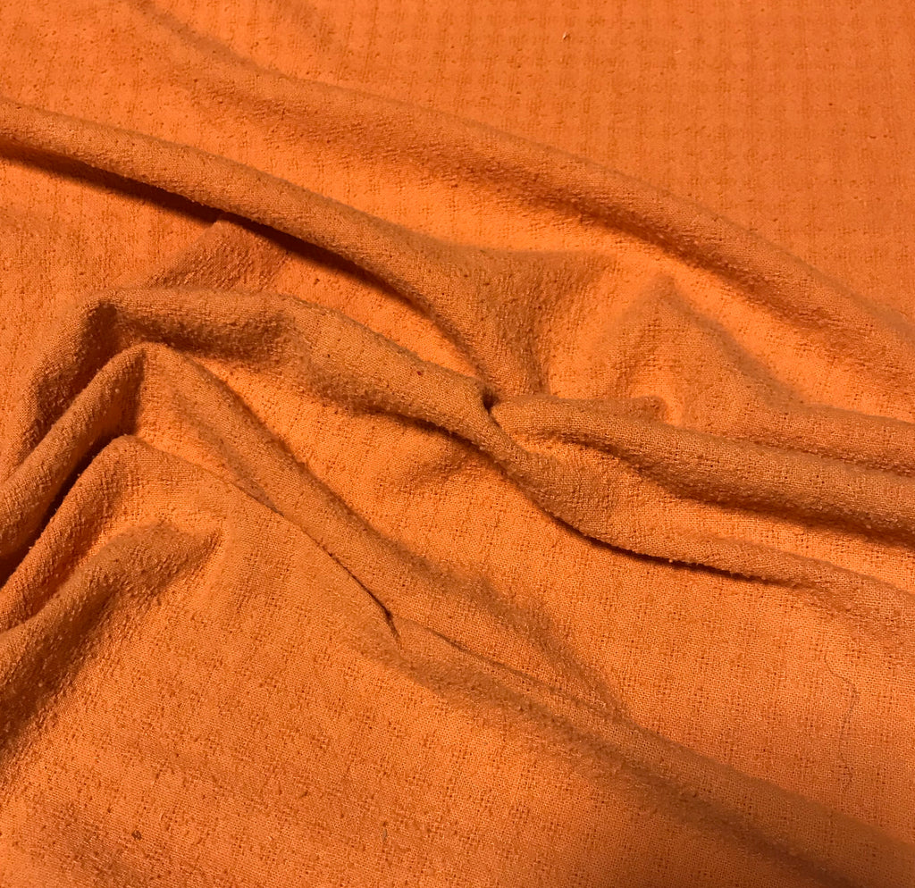 Persimmon Orange - Hand Dyed Checkered Weave Silk Noil