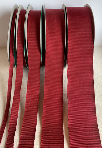 Burgundy Red 100% Rayon Petersham Ribbon (5 Widths to choose from)