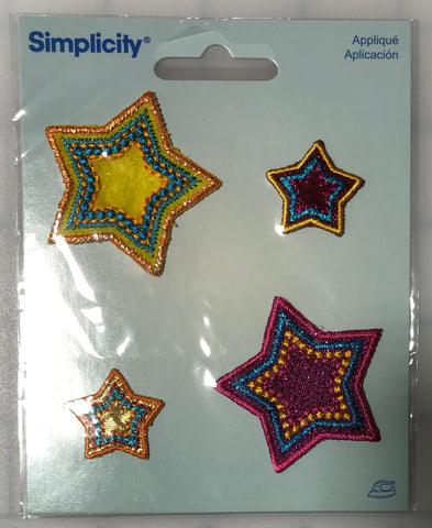 Metallic Stars Iron-On Applique by Simplicity