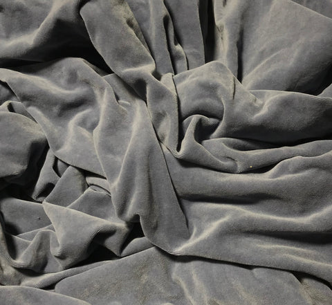 Hand Dyed Steel Blue - Cotton Velveteen Fabric