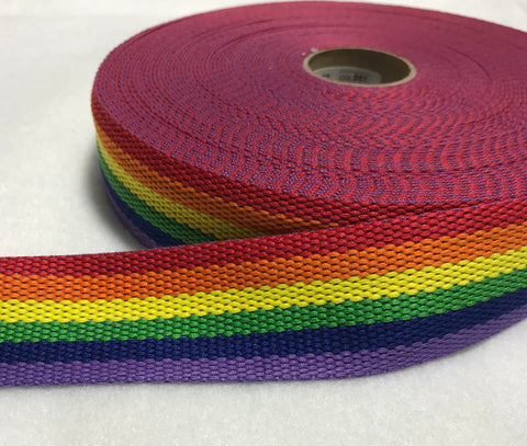 "Bright Rainbow Webbing Made in France 1 1/2"" wide"