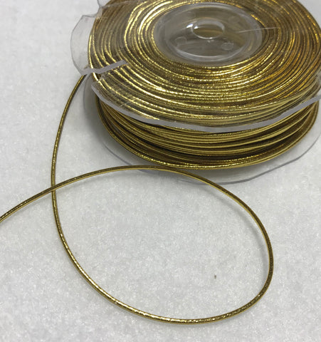 2mm Stretch Elastic Metallic Cord Made in France (Choose Gold or Silver)