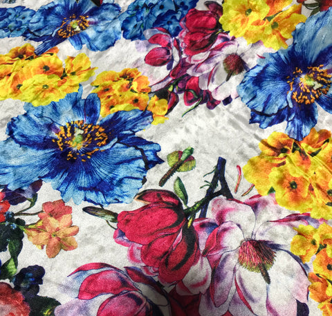 White, Blue, Yellow & Pink Multi Floral - Stretch Polyester Velvet Fabric