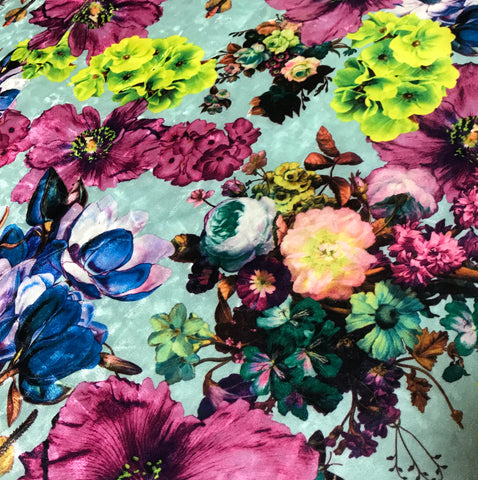 Aqua Purple & Green Multi Floral - Stretch Polyester Velvet Fabric