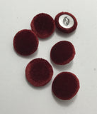 Ruby Red Silk Velvet Fabric Buttons - Set of 6 - 5/8""