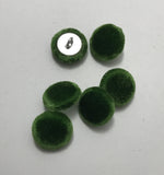 Kelly Green Silk Velvet Fabric Buttons - Set of 6 - 5/8""
