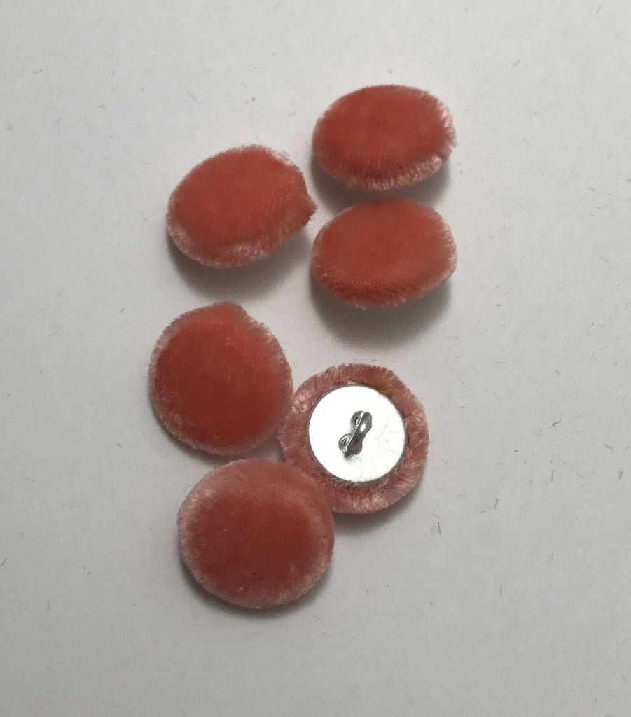 Coral Silk Velvet Fabric Buttons - Set of 6 - 5/8""