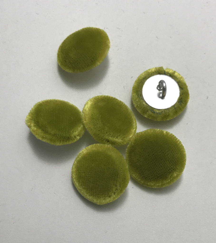 Yellow Green Silk Velvet Fabric Buttons - Set of 6 - 5/8""