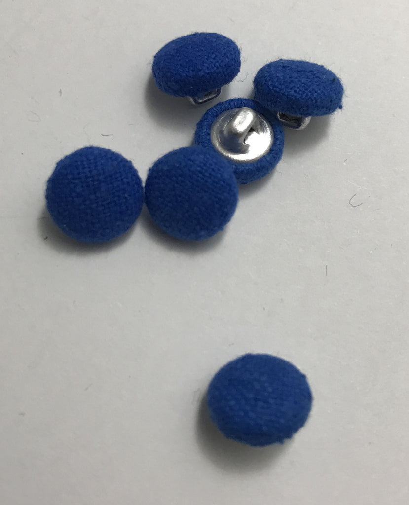 Royal Blue Silk Noil Fabric Buttons - Set of 6 - 7/16""