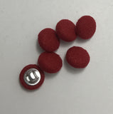 Bright Red Silk Noil Fabric Buttons - Set of 6 - 7/16""