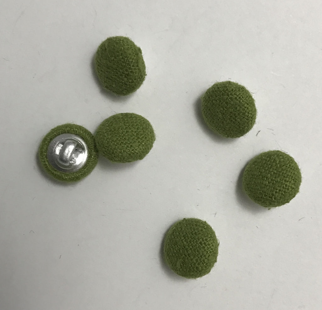 Leaf Green Silk Noil Fabric Buttons - Set of 6 - 7/16""