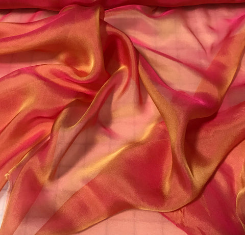 Golden Coral - Iridescent Silk Chiffon