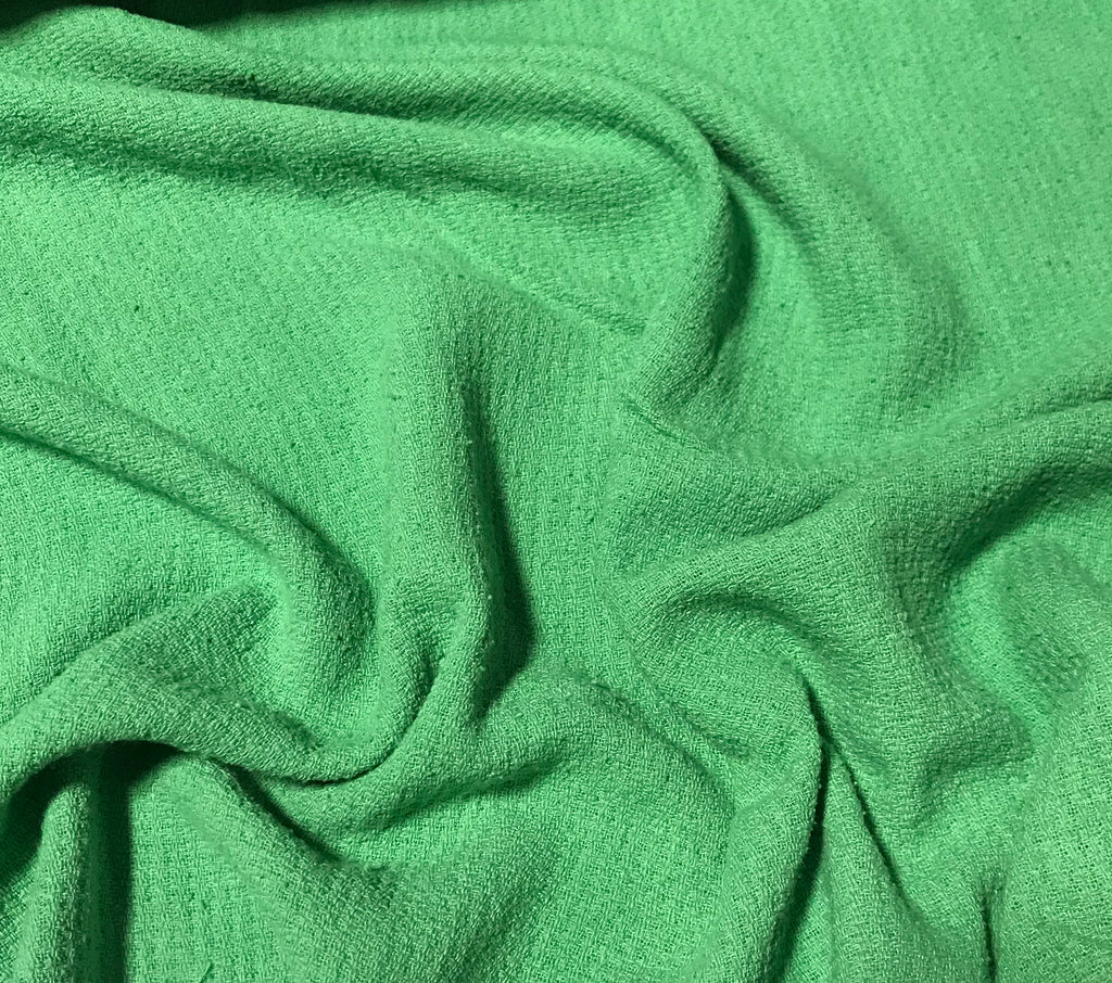 Spring Green - Hand Dyed Squares Weave Silk Noil