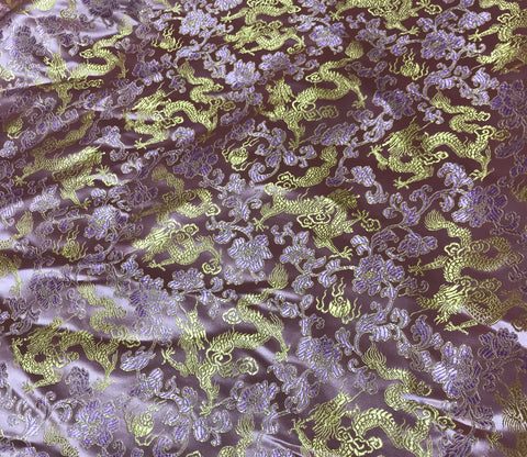 Baby Pink & Gold Dragons - Faux Silk Brocade Fabric