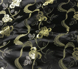 Black & Gold Ribbon Roses - Faux Silk Brocade Fabric