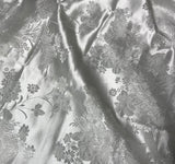 White Peony Floral - Faux Silk Brocade Fabric