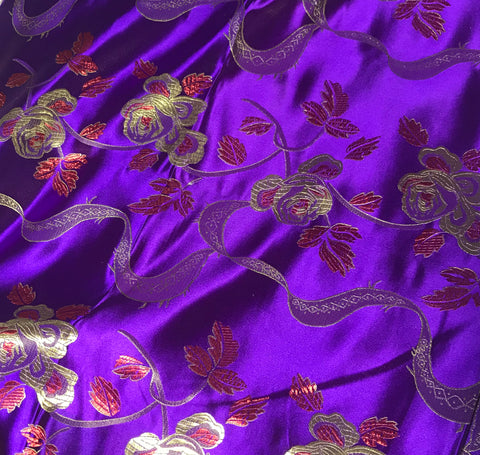 Purple & Gold Ribbon Roses - Faux Silk Brocade Fabric