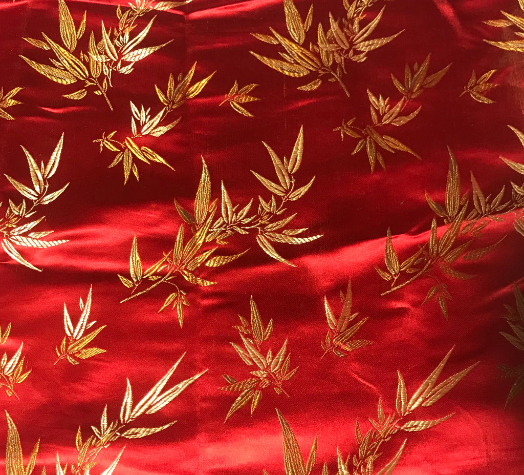 Red & Gold Bamboo - Faux Silk Brocade Fabric