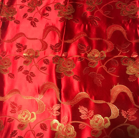 Red & Gold Ribbon Roses - Faux Silk Brocade Fabric
