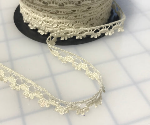 "Ivory Cotton Edge Lace Made in France (1/2"" wide)"