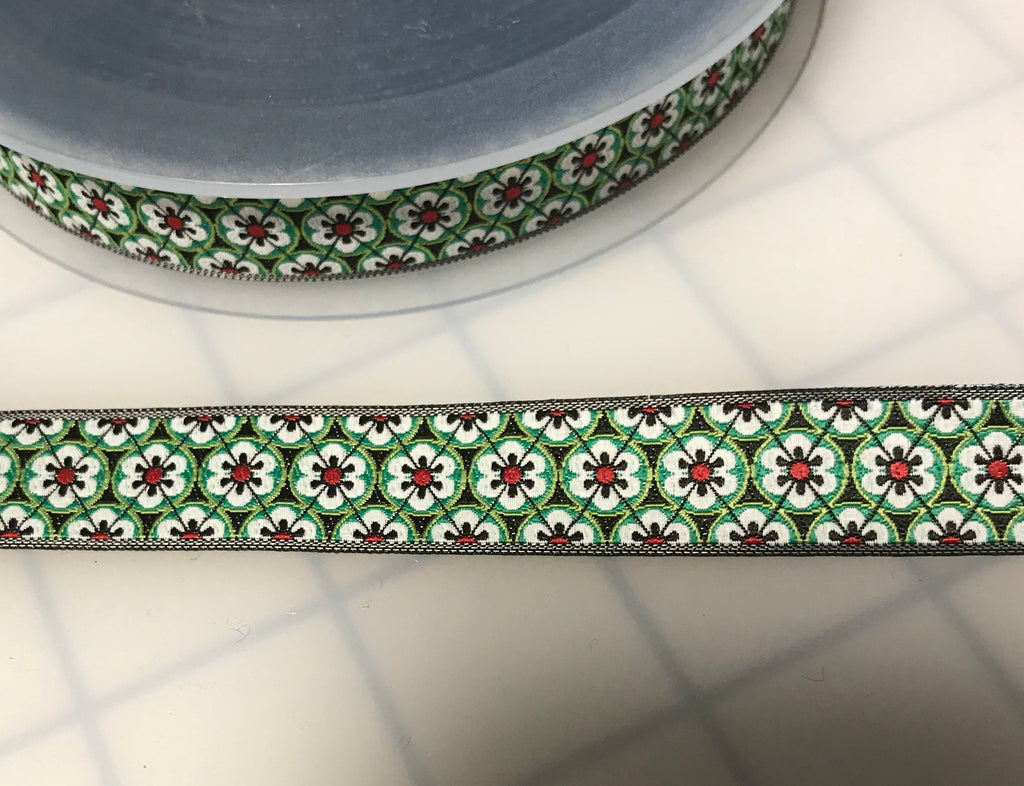"Art Deco Floral Jacquard Ribbon Trim 5/8"" ( 2 Colors to choose from)"