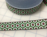 "Art Deco Floral Jacquard Ribbon Trim 15/16"" ( 2 Colors to choose from)"