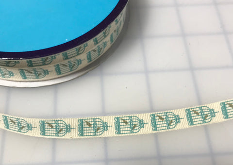 "Birdcage Grosgrain Ribbon Trim 7/16"" Made in France (3 Colors to choose from)"