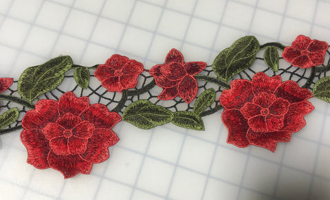 "Embroidered Lace Red Flower Applique Trim 4"" Made in France"