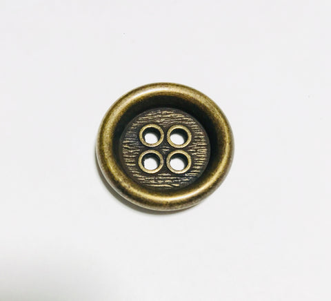 4 Hole Metal Button - 23mm / 3/4 inch - Dill Buttons Brand (2 Colors to Choose From)