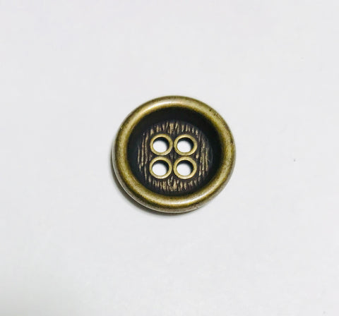 4 Hole Metal Button - 18mm / 5/8 inch - Dill Buttons Brand (2 Colors to Choose From)