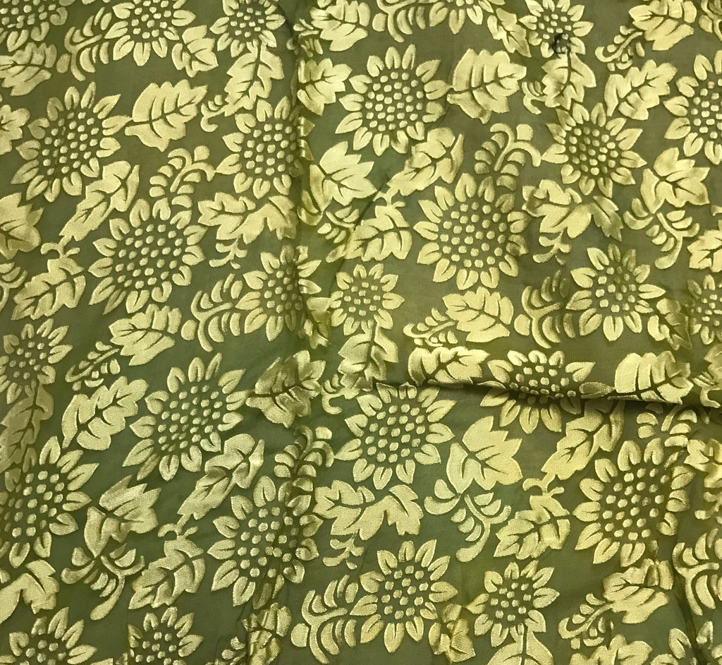 Avocado Green Sunflowers Floral - Hand Dyed Burnout Devore Silk Satin