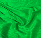 Bright Kelly Green - Hand Dyed Silk Dupioni Fabric