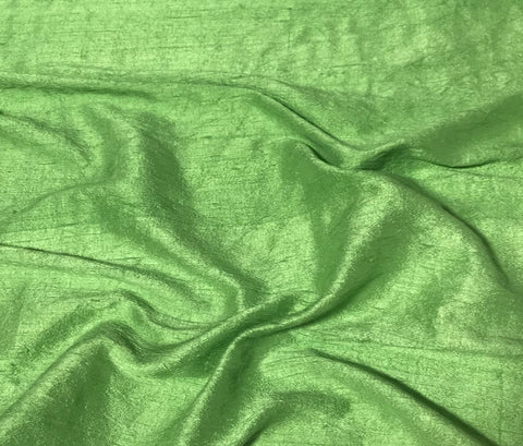 Apple Green - Hand Dyed Silk Dupioni Fabric