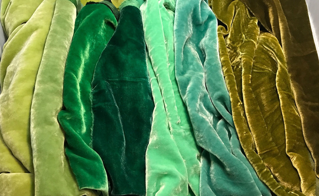 "Greens Sample Set - Hand Dyed Silk Velvet - 1/4 Yard x 45"" Each"