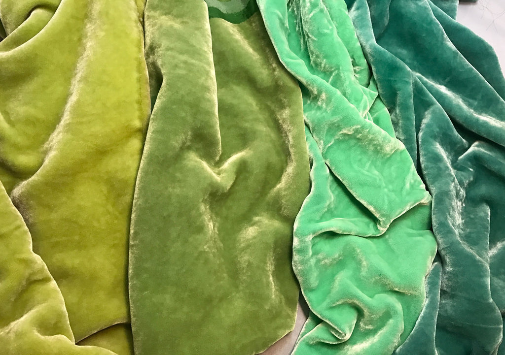 "Pastel Green Sample Set - Hand Dyed Silk Velvet - 1/4 Yard x 45"" Each"