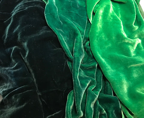 "Bright Green Sample Set - Hand Dyed Silk Velvet - 9""x22"" Each"