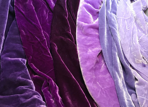 "Big Purple Sample Set - Hand Dyed Silk Velvet - 9""x22"" Each"