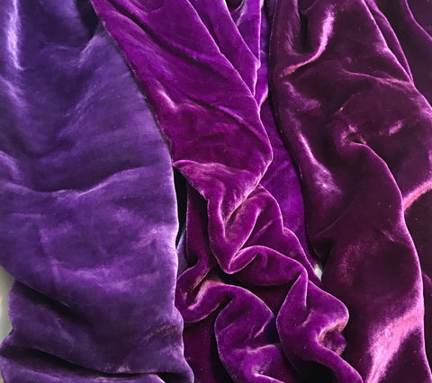 "Dark Purple Sample Set - Hand Dyed Silk Velvet - 1/4 Yard x 45"" Each"